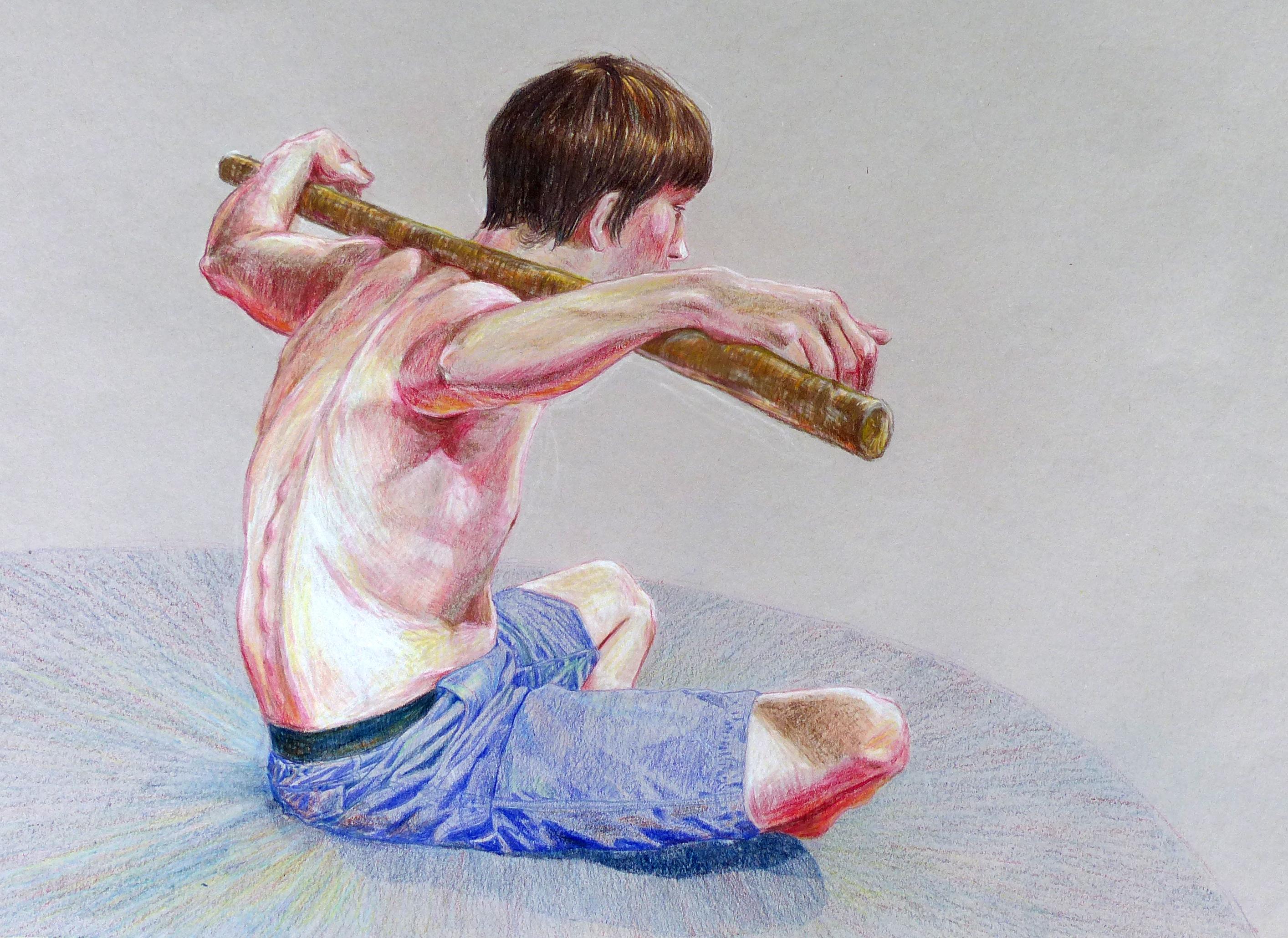 vivian harp colored pencil figure drawing arcata arts institute